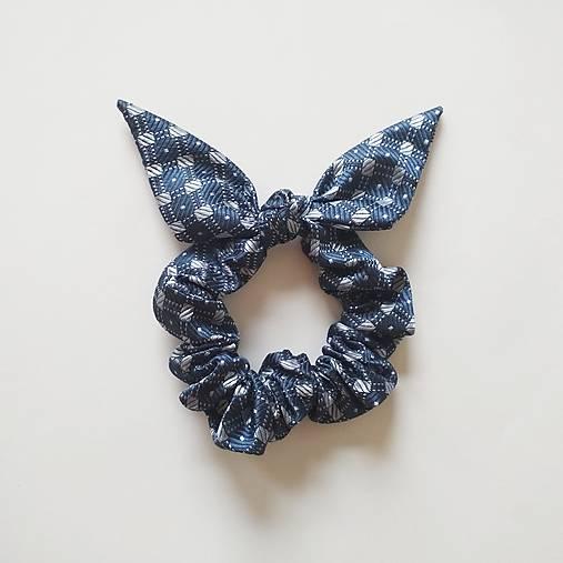 Recy-scrunchie modrá vzorovaná
