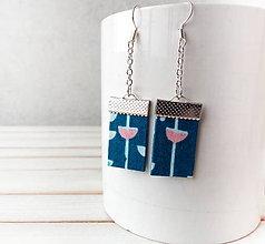 Náušnice - Textilné náušnice Petrolejové s tulipánom - 11632030_