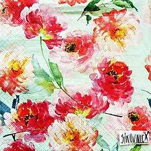 Papier - S1469 - Servítky - kvety, akvarel, flowers - 11635332_