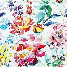 Papier - S1470 - Servítky - akvarel, kvety, flowers - 11635384_