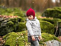 Detské čiapky - Merino škriatkovská čiapočka zimná - 11635867_