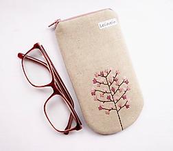 Taštičky - Puzdro na okuliare - Magnolia strom (vyšívané) - 11636481_