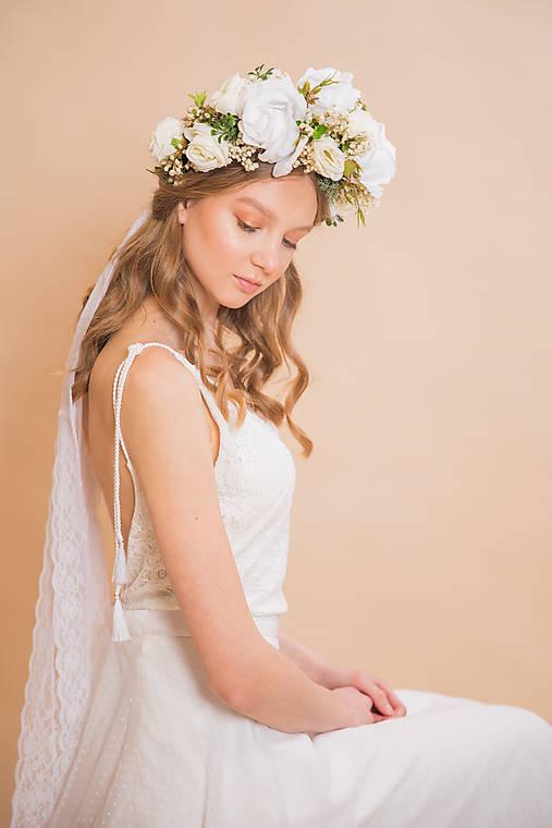"""Svadobný venček/parta """"keď kvitnú biele ruže"""""""