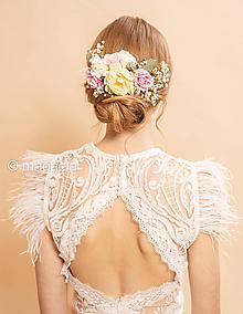 """Ozdoby do vlasov - Kvetinový boho hrebienok """"sladké pošepky"""" - 11636583_"""