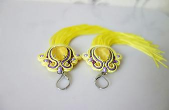 Náušnice - Žlté náušnice s fialovou - 11636610_