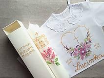 Detské oblečenie - Set do krstu- Fialový drobnokvetinkový - 11637329_