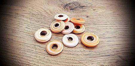 Korálky - Korálka sklenená krúžok (Oranžovobiela) - 11637472_