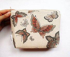 Taštičky - Taštička objemná väčšia - Let motýľov - 11639775_