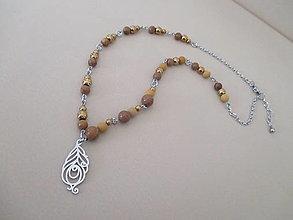 Náhrdelníky - Asimetrický náhrdelník - PIERKO - minerál: mokait, sandalwood, hematit - chir. oceľ - 11639691_