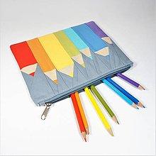 Taštičky - Taštička farebné ceruzky pastel - 11639457_