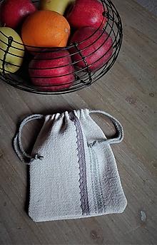 Úžitkový textil - Ľanové vrecúško z ručne tkaného slovenského ľanu - 11637779_