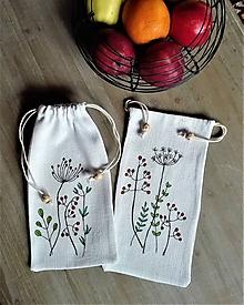 Úžitkový textil - Sada dvoch maľovaných ľanových vrecúšok na bylinky, huby... - 11638274_