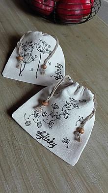 Úžitkový textil - Sada dvoch maľovaných ľanových vrecúšok na bylinky - 11638448_