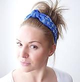 Ozdoby do vlasov - Vyšívaná ľanová čelenka s uzlom modrej farby - 11639156_
