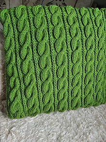 Úžitkový textil - pletený vankúš zelený - 11638315_