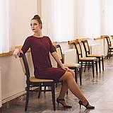 Šaty - Šaty Contrasting line (burgundy) 3/4 rukáv - 11638440_