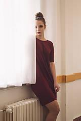 Šaty - Šaty Contrasting line (burgundy) 3/4 rukáv - 11638442_