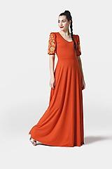 Šaty - Šaty dlhé Joy škoricové s vyšívanými rukávmi - 11641022_