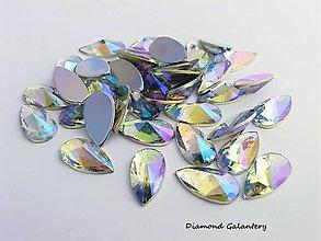 Komponenty - Ozdobné kamienky 8 x 13 mm, ihlanovitý výbrus (Crystal AB) - 11643199_