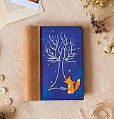 """Papiernictvo - Ručne šitý KRESLENÝ * zápisník * ,,Líška a strom"""" A5 s koženým chrbtom - 11643710_"""