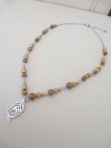 Náhrdelníky - Asimetrický náhrdelník - PIERKO - minerál: mokait, sandalwood, hematit - chir. oceľ - 11639692_