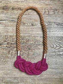 Náhrdelníky - Viazaný náhrdelník - III.  (Ružová) - 11641380_