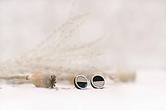 Náušnice - Napichovacie náušnice Krúžky - linkové (Čierno-biela) - 11643177_