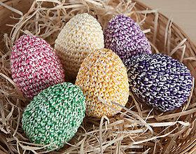 Dekorácie - Háčkované vajíčka - farebná sada 6ks - 11643119_