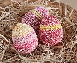 Dekorácie - Háčkované vajíčka - sada 3ks - 11643167_