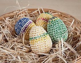 Dekorácie - Háčkované vajíčka - farebné - 11643240_