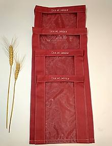 Úžitkový textil - Vrecúško na chlieb a pečivo - staroružové (Cenovo zvýhodnená sada 4 vrecúšok) - 11643458_