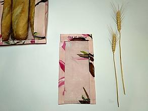 Úžitkový textil - Vrecúško na chlieb a pečivo - magnólie na staroružovej (Vrecúško na rožtek) - 11643517_