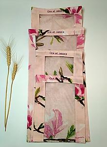 Úžitkový textil - Vrecúško na chlieb a pečivo - magnólie na staroružovej (Cenovo zvýhodnená sada 4 vrecúšok) - 11643540_