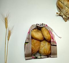 Úžitkový textil - Vrecúško na chlieb a pečivo - magnólie na sivej (MINI) - 11643599_