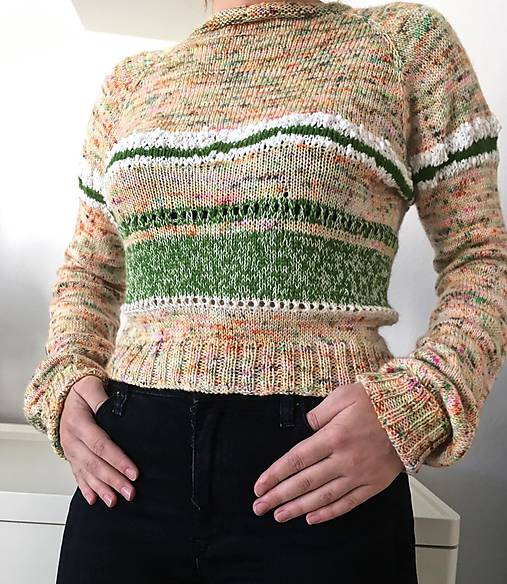 Tenký crop pulover 100 % merino