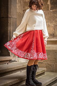 Sukne - červená sukňa s Vajnorským ornamentom (Bratislava) - 11640699_