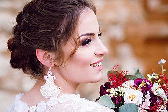 Náušnice - Svadobné náušnice s perlami a krajkou - 11641041_