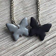 Náušnice - Motýle čierno strieborné - 11644704_