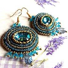 Náušnice - Turquoise Gold Earrings / Korálkové náušnice tyrkysovo zlaté - 11647823_