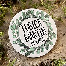Darčeky pre svadobčanov - Magnetky pre svadobčanov venček zelený - 11644530_