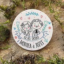 Darčeky pre svadobčanov - Magnetky pre svadobčanov zaľúbený párik - 11646693_