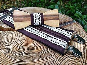 Doplnky - Pánsky drevený motýlik a traky - 11646858_