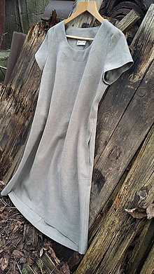 Šaty - Ľanové šaty - khaki - 11646900_