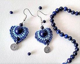 Náušnice - Makramé náušnice modré s lapis lazuli - 11646167_