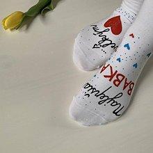 """Obuv - Maľované ponožky pre babku s nápisom: (Najlepšia babka / s veľkým ❤️"""") - 11644698_"""