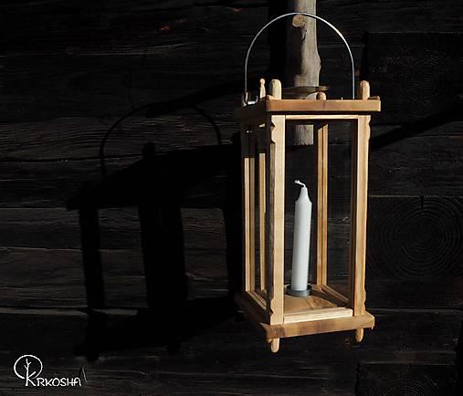 Svietidlá a sviečky - Drevený lampáš - 11644495_