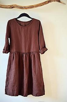 Šaty - Hnědé šaty lněné - 11647976_