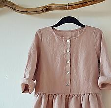 Šaty - Pudrové šaty lněné - 11647999_
