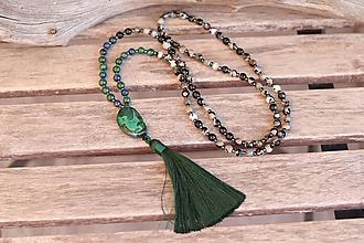 Náhrdelníky - Náhrdelník so strapcom a minerálmi achát, azurit - 11644365_