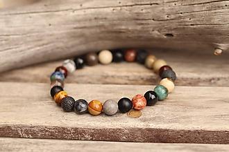 Šperky - Pánsky náramok z mixu minerálov - 11645548_